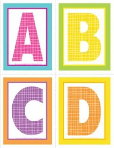 medium alphabet letters - plaid and polka dot - ABCD