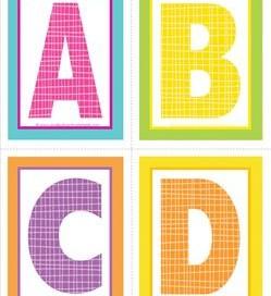 medium alphabet letters - plaid and polka dot - ABCD