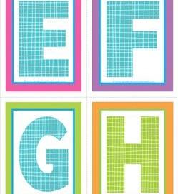 medium alphabet letters - plaid and polka dot - EFGH