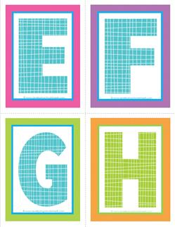 medium alphabet letters - plaid and polka dot - EFGH