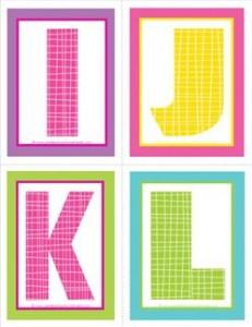medium alphabet letters - plaid and polka dot _IJKL