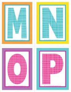 medium alphabet letters - plaid and polka dot - MNOP