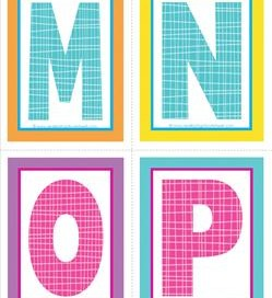medium alphabet letters - plaid and polka dot - MNOP