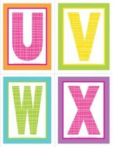medium alphabet letters - plaid and polka dot - UVWX