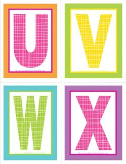 medium alphabet letters - plaid and polka dot - UVWX