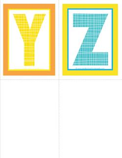 medium alphabet letters - plaid and polka dot - YZ