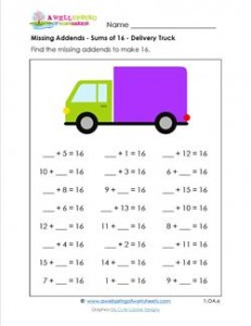 missing addend - sums of 16 - delivery truck
