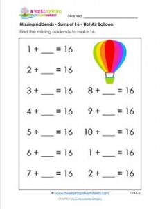 missing addend - sums of 16 - hot air balloon