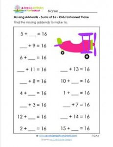missing addend - sums of 16 - old-fashioned plane