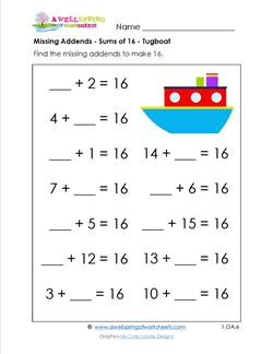Printables Missing Addend Worksheets grade a wellspring of worksheets missing addend sums 16 tugboat