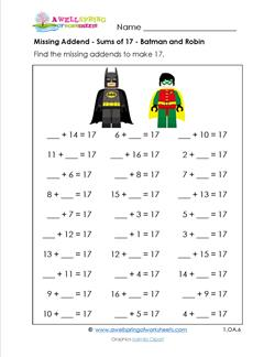 Missing Addends – Sums of 17 – Batman and Robin