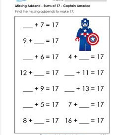 missing addend - sums of 17- captain america