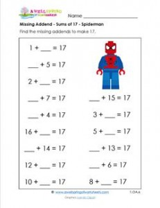 missing addend - sums of 17 - spiderman