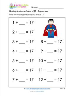 missing addend - sums of 17 - superman