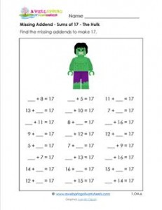missing addend - sums of 17 - the hulk