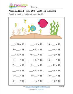 missing addend sums of 18 first grade addition worksheets. Black Bedroom Furniture Sets. Home Design Ideas