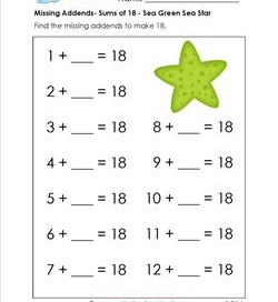missing addend - sums of 18 - sea green sea star