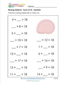 missing addend - sums of 18 - seashell