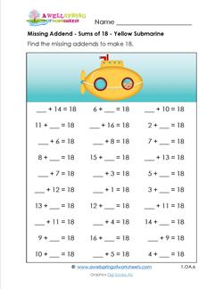 missing addend - sums of 18 - yellow submarine