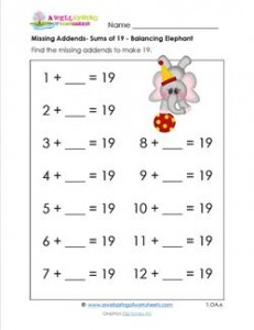 missing addend - sums of 19 - balancing elephant