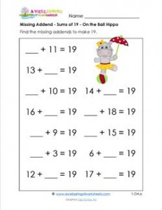 missing addend - sums of 19 - on the ball hippo