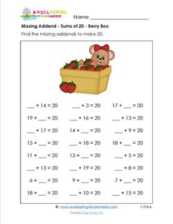 missing addend - sums of 20 - berry box