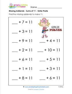 missing addends - sums of 11 - girlie priate