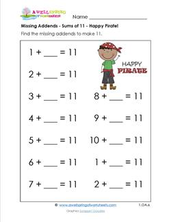 missing addends - sums of 11 - happy pirate