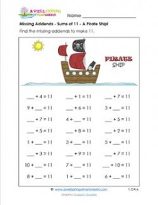 missing addends - sums of 11 - pirate ship
