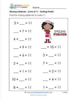 missing addends - sums to 11 - smiling pirate