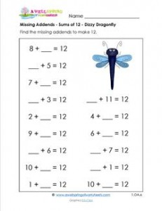 missing addends - sums of 12 - dizzy dragonfly