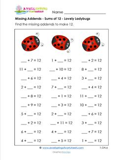 missing addends - sums of 12 - lovely ladybugs