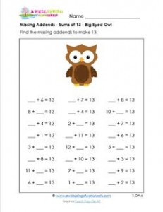 missing addends - sums of 13 - big-eyed owl