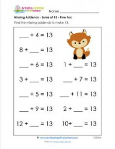 missing addends - sums of 13 - fine fox