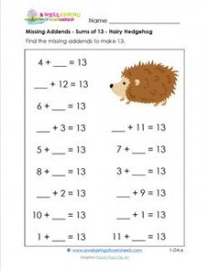 missing-addends - sums of 13 - hairy hedgehog