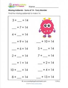 missing addends - sums of 14 - furry monster