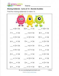 missing addends - sums of 14 - monster buddies