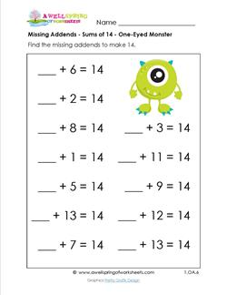 missing addends - sums of 14 - one-eyed monster