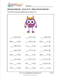 missing addends - sums of 14 - stripey horned monster