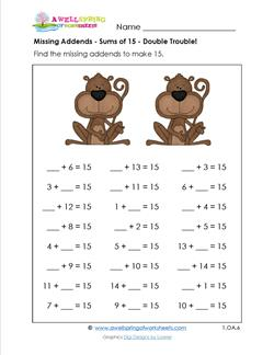 missing addends - sums of 15 - double trouble
