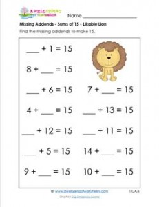 missing addends - sums of 15 - likable lion