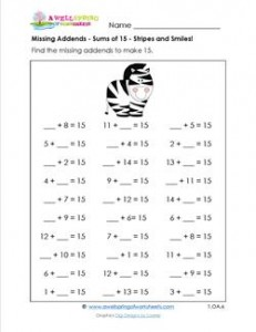 missing addends - sums of 15 - stripes and smiles