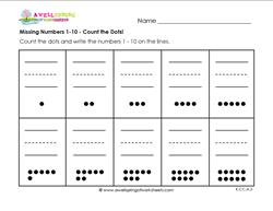 Missing Numbers 1 10 Count The Dots Kindergarten Number Writing