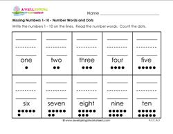 missing numbers 1-10 number words and dots