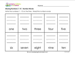 Missing Numbers 1-10 - Number Words - Kindergarten Number Writing