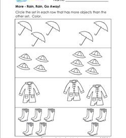 More - Rain, Rain, Go Away! - Comparison Worksheets