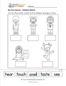my five senses a matching page kindergarten science. Black Bedroom Furniture Sets. Home Design Ideas