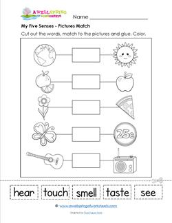 a my five senses matching worksheet for kindergarten. Black Bedroom Furniture Sets. Home Design Ideas