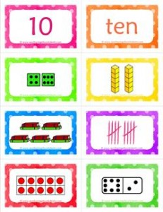 number cards matching game - number 10