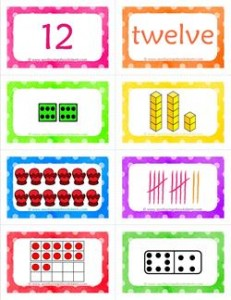 number cards matching game - number 12